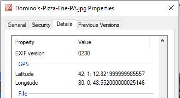 Szerokość i długość geograficzna restauracji Domino's Pizza w Erie, PA