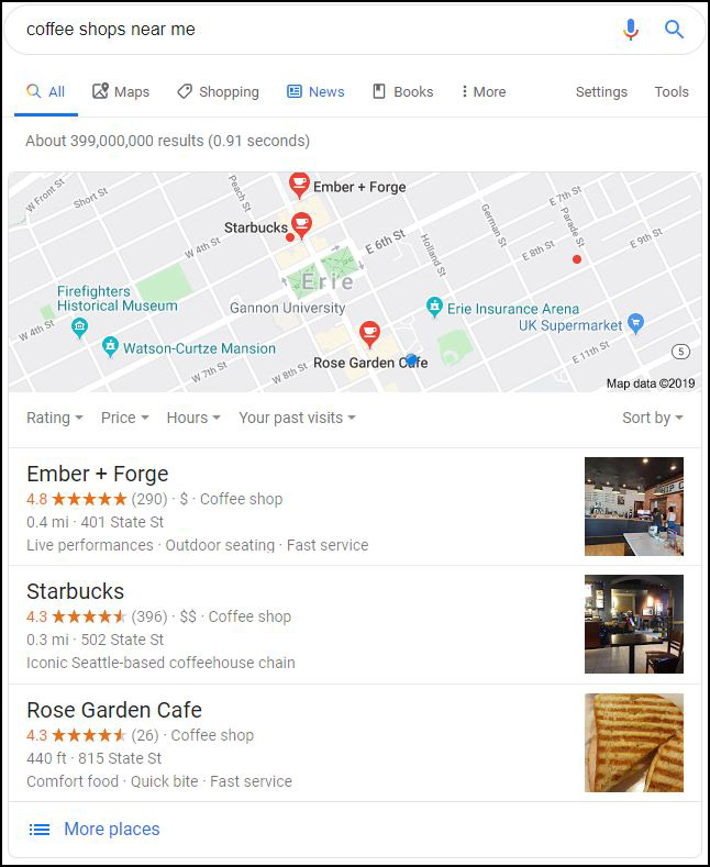 Google Local 3-Pack Example