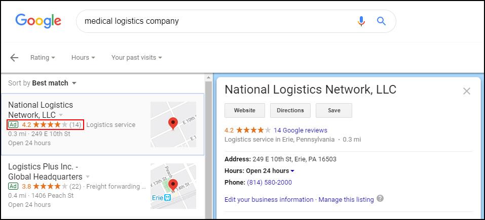 Google Maps Advertisement Example